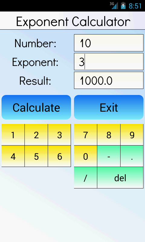 how to add exponents on andriod