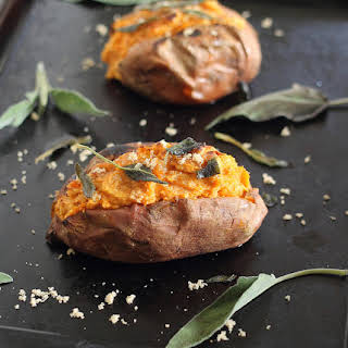 Twice Baked Sweet Potatoes With Cinnamon Cashew Cream.
