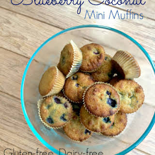 Blueberry Mini Muffins with Lemon Coconut Frosting (Gluten-free, Dairy-free).