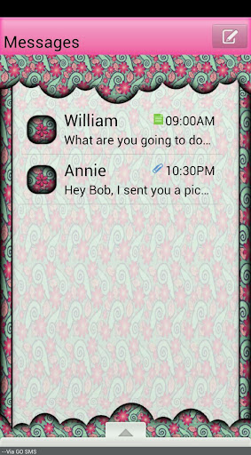 GO SMS THEME PaisleyFlowers4U