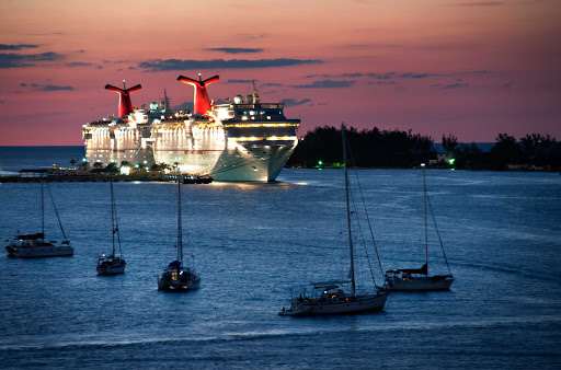 Carnival Imagination at twilight in Nassau, the Bahamas.