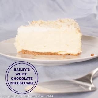 Bailey's White Chocolate Cheesecake with Almond Brown Sugar Crust