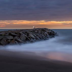 Sunset fishing by Ricardo  Guimaraes - Landscapes Waterscapes ( water, color, waterscape, sunset, fishing, beach, portugal, landscapes,  )