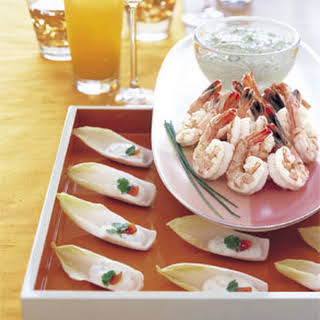 """Endive """"Spoons"""" with Lemon-Herb Goat Cheese."""