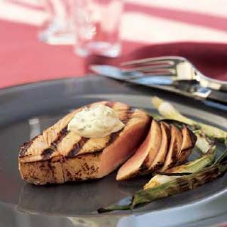 Seared Tuna Steaks with Wasabi-Green Onion Mayonnaise.