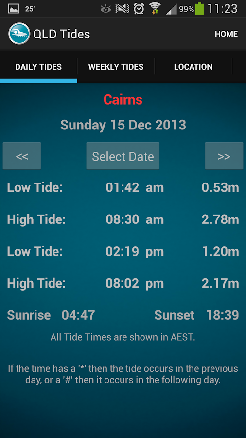 Queensland Tide Times - screenshot