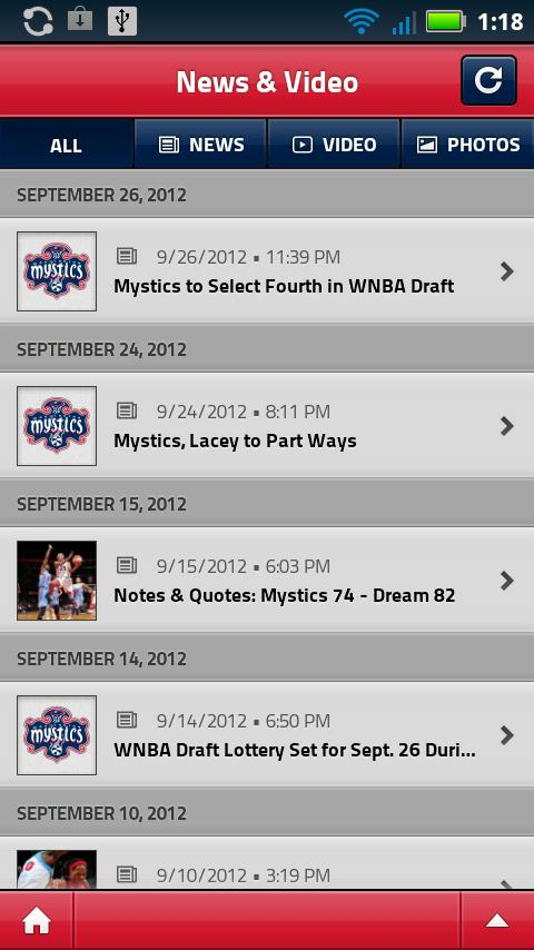 Washington Mystics Mobile - screenshot