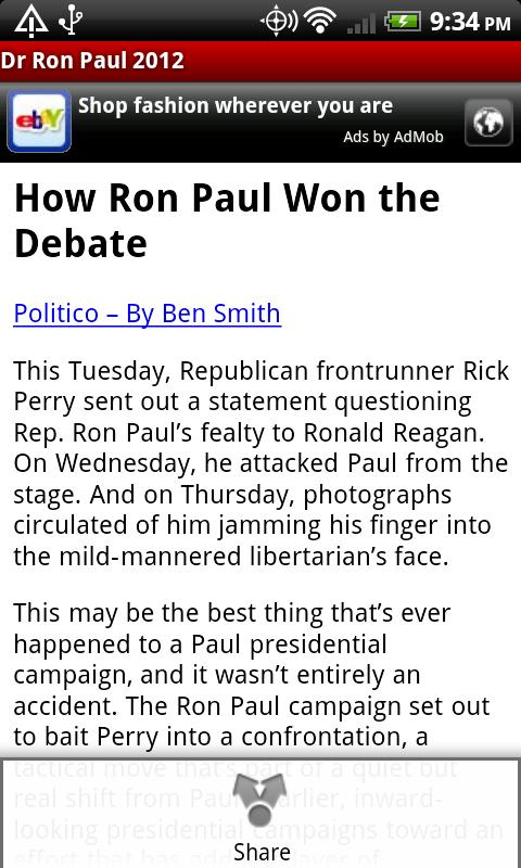 Dr Ron Paul 2012 - screenshot