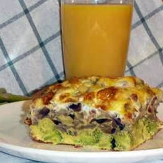 Gorgonzola, Broccoli and Sautéed Mushroom Egg Casserole.
