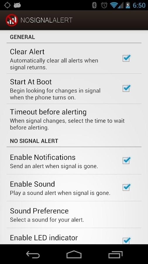 No Signal Alert - screenshot