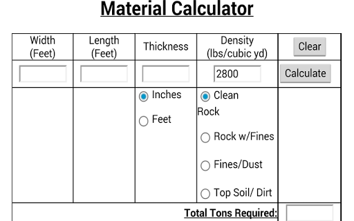 Material Calculator