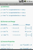 Screenshot of Trigonometry Quick Reference