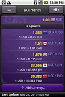 Screenshot of aCurrency Pro (exchange rate)