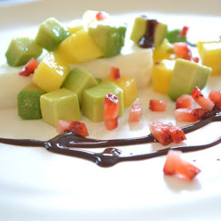 Coconut Panna Cotta with Avocado and Mango.