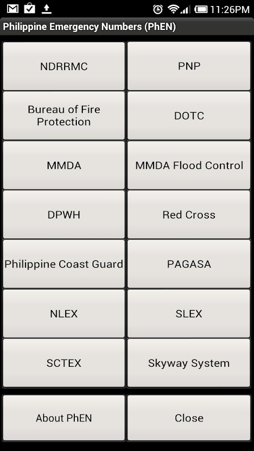 Philippine Emergency Numbers- screenshot
