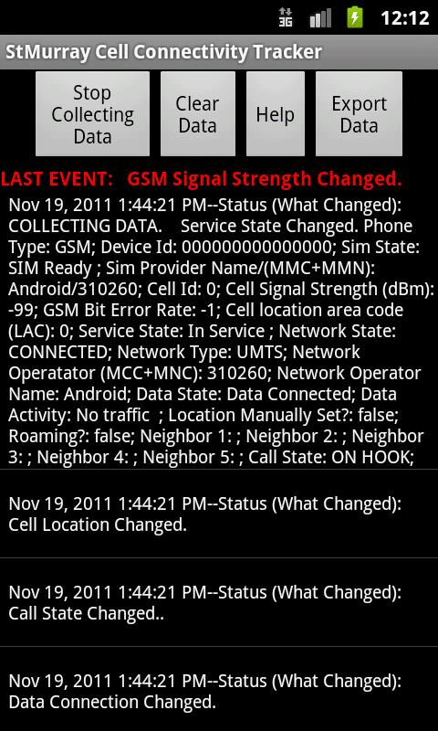 Cell Connectivity Tracker - screenshot