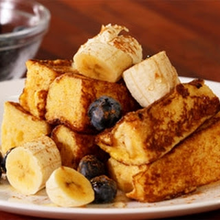 Brioche With Banana And Blueberries.
