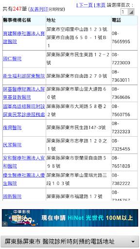 屏東縣醫院診所時刻預約電話地址 實用便利