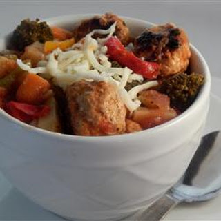 Jesse's Spicy Veggie and Turkey Meatball Stew.