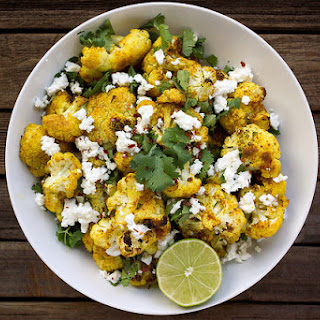 Roasted Curry Cauliflower with Feta and Cilantro Recipe