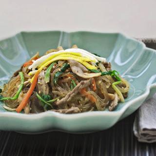 Japchae, the famous Korean noodle dish.