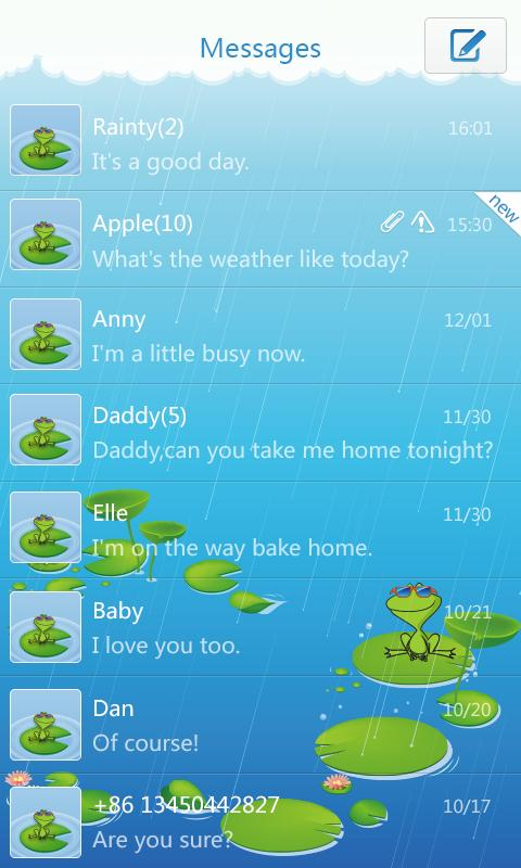 GO SMS Pro Frog ThemeEX - screenshot