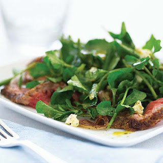 Watercress Salad with Steak, Sautéed Shallots & Stilton
