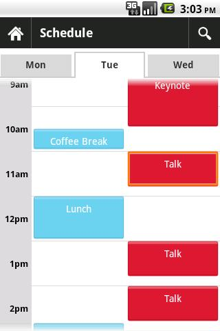 Jfokus Scheduler - screenshot
