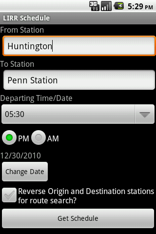 LIRR Schedule - screenshot