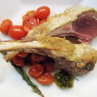 Rack of Lamb with Dijon Crust and Rosemary Cherry Tomatoes