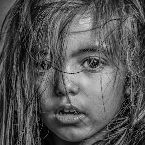 close up by Nathalie Gemy - Babies & Children Child Portraits ( expression, child, black and white, artistic, child portrait, close up, kid )