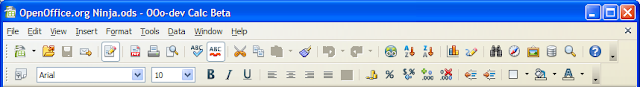 OpenOffice.org Calc Galaxy Icon set on Windows XP