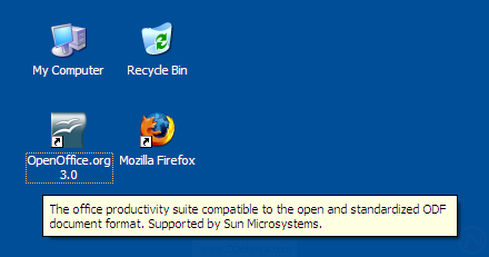 OpenOffice.org 3.0 desktop shortcut on Windows XP desktop.  You can create the desktop shortcut icon later too.