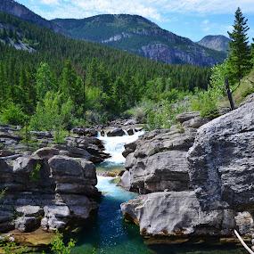 Devils Glen by Don Evjen - Landscapes Mountains & Hills ( water drops, mountains, sky, rock, river,  )