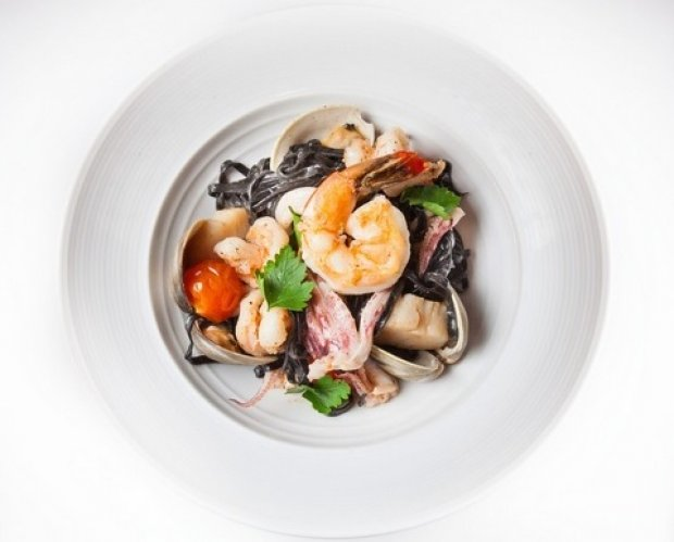 Squid Ink Pasta with Seafood, Burst Tomatoes and Sea Urchin Butter Recipe