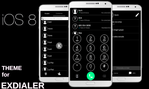 ExDialer Theme IOS 8 BLACK