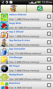 App backup and share- screenshot thumbnail