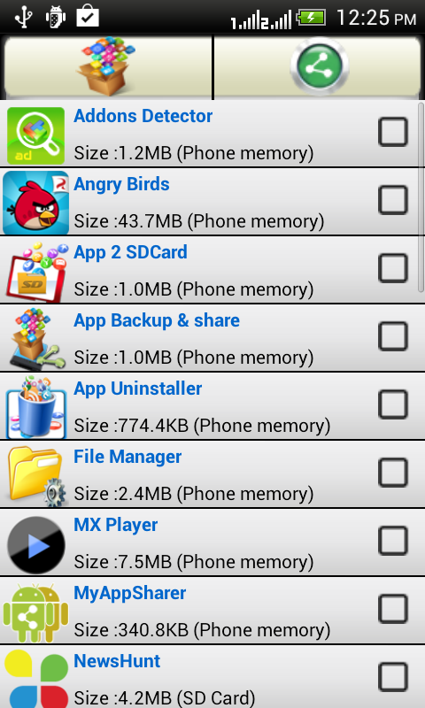 App backup and share - screenshot