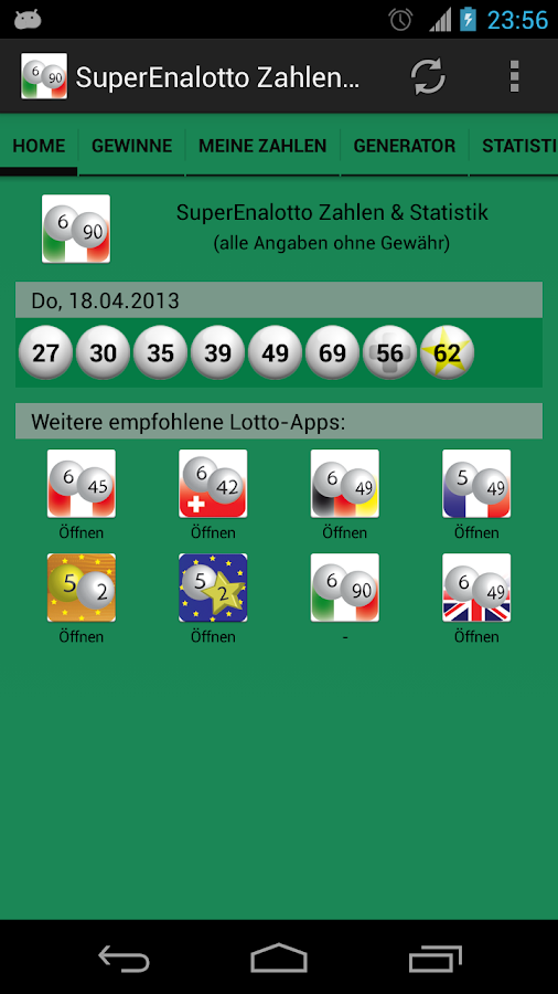 SuperEnalotto Nos & Statistics - screenshot