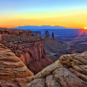 Mesa Sunrise by Roxie Crouch - Landscapes Sunsets & Sunrises ( national park, blue, canyonlands, red rock, rock, yellow, sunrise,  )