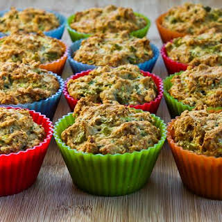 Savory Whole Wheat Zucchini Muffins with Green Chiles and Cheese.