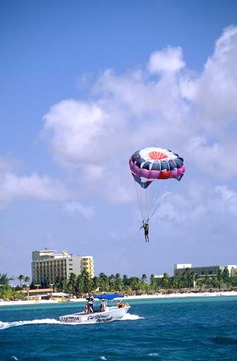 Parasailing above Aruba.