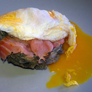 Artichoke Heart with Smoked Salmon and Fried Egg Over Easy.