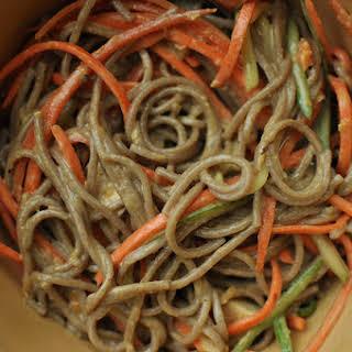 Soba Noodles with Peanut/Sesame Sauce and Julienned Vegetables.