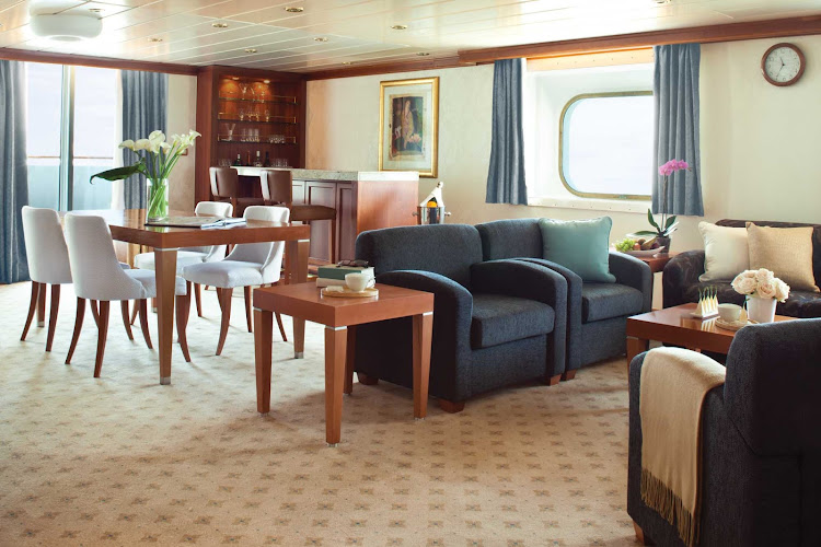 Entertain friends in the privacy of your own Master Suite during your sailing on Seven Seas Mariner. At a mind-bending 2,002 square feet, it contains two spacious bedrooms, two private balconies, 2 1/2 marble bathrooms, a big living room, walk-in closet with safe, flat-screen TV, mini-bar, personal butler and more.
