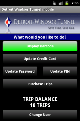 Detroit Windsor Tunnel Mobile- screenshot