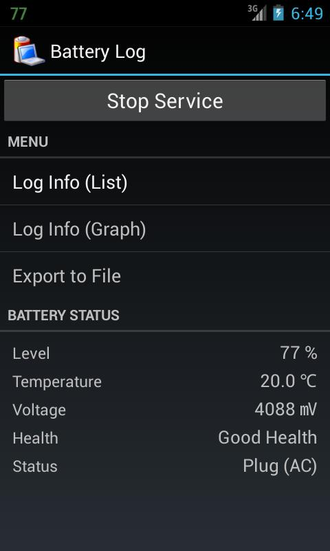 Battery Log - screenshot