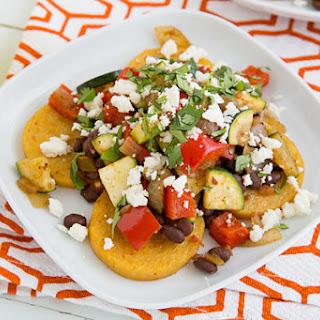 Mexican Baked Polenta with Salsa Beans & Sautéed Veggies