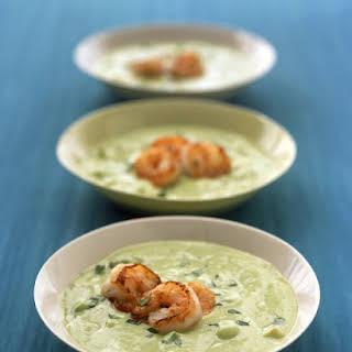 Avocado-Cucumber Soup with Shrimp.