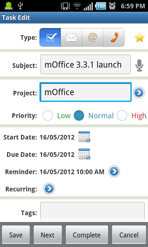 mOffice - calendar/task sync- screenshot